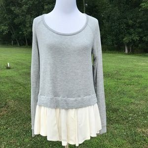 Ella Moss Mixed Media Top w/ Ivory Flutter Hem